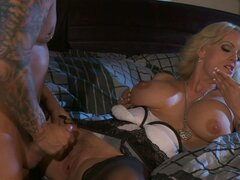 Fabulous milf Stormy Daniels rides dick of tattooed dude