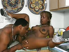 Ebony Cutie Kenya Slammed In The Kitchen