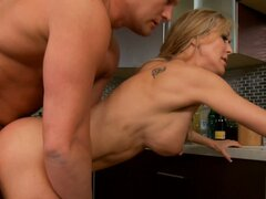 Bald headed dude provides Brandi Love with tough fuck