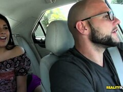 Curvacious Latina chick, Jazmine, goes for a car ride and shows her ass