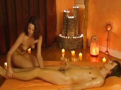 Long erotic handjob with oil