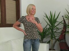 Blonde Laura is giving a sloppy blowjob