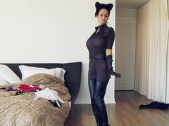 French maid wearing a catsuit gets banged on the bed