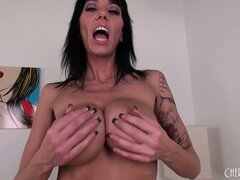 Stacked brunette milf Alia Janine pleases her cunt with her fingers and a dildo