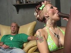 Black cock loving blonde fucks one while guy watches