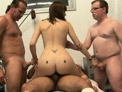 Babysitter gets busy with three horny cocks ready to explode