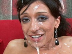 Ricki White giving an extremely hot blowjob and getting a huge load on her face