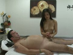 Slutty asian whore loves tugging on a huge meat pole