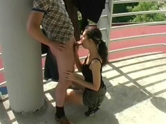 Brown-haired girl enjoys hot sex on the balcony in homemade clip