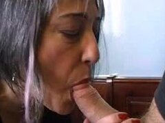 Mature French bitch fingers her pierced pussy while getting her ass fucked