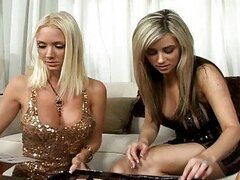 Busty lesbian Molly and busty chick Taylor get fun