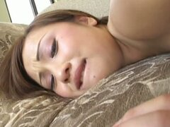A bit plump chick Tia Tanaka plugs a strong big tool into her small mouth