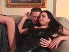 Busty brunette in latex sucks his dick, gets licked and then fucked