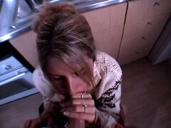 Milf gets facial in the kitchen