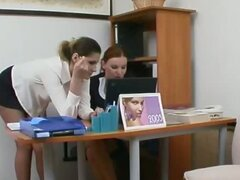 Female co-workers in soft pantyhose knowing the best way of the rest-time