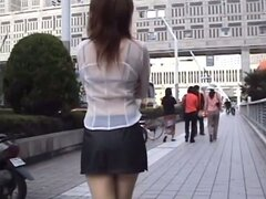 Naughty Yu Sakura changes her clothes and walks in the street