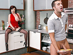 Keiran is over at his friends place playing video games. He's hungry so he goes in the kitchen and finds a warm apple pie. Keiran's also horny so he starts fucking the pie. Oddly enough his friend's mom comes home to find Keiran fucking the pie she made.