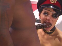 Severe and cock voracious general Victoria Sin sucks her soldier's cock