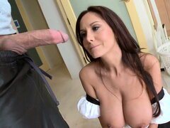 Fresh blondie busts her BF fucking with his enormously busty maid
