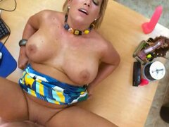 Fat blonde whore Charlee Parker gets her ass penetrated on a casting and squirts