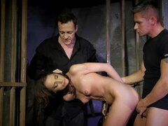 Hot double penetration for a naughty model in jail