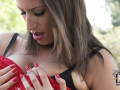 Wonderful Sensual Jane squeezes her precious boobs and shows off her lovely bums