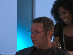 Interracial hair salon threesome