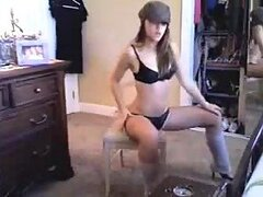 Really wild and hot chick doing a really nice striptease