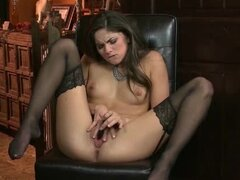 Slender toy and finger fuck babe