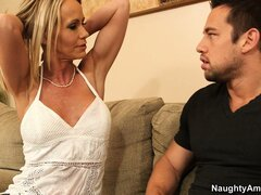 Simone Sonay, a blonde milf with sexy tits, is on the lookout for a wild adventure