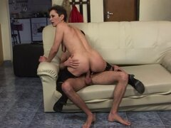 Marica gives a fervent blowjob and gets her hairy pussy fucked