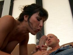 Feisty Lezley Zen deepthroat sucking and spitting on cock