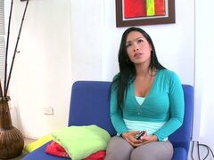 Horny Celeste gets fingered and fucked at the interview
