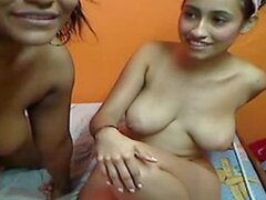 Two Girls Colombian Playing in Webcam