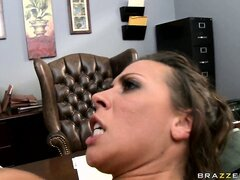 Astonishing slut gladly spits on the nice shaft and swallows it