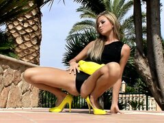 Gorgeous kitty in black thongs can't wait when she loses her clothes