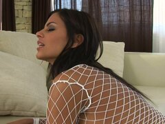 Angelika Black in sexy net top goes wild on the cock