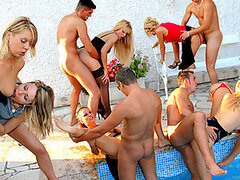 A huge kinky sex party with randy teens happens out of nowhere by the pool