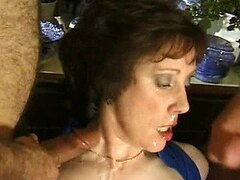 Brunette Milf Gets Gangbanged By Horny Big Cocks