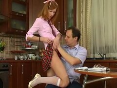 Russian schoolgirl fucks her teacher...