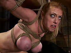 2 girls, massive tits, bound, 1 suspended, 1 neck tied down & arched.YL Both made to brutally cum!