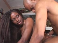 Ebony Babe Fucked By Two Black Dudes.
