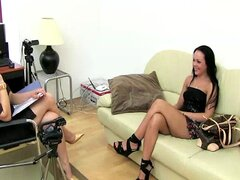 Casting with two ladies making out