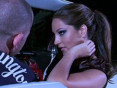 A goddess-like brunette babe goes for a ride with a random guy and gets a ride