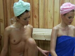 Lesbians in the sauna eat pussy