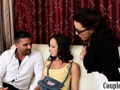Matured husband and his stunning wife tempts a hot petite teen into a threesome