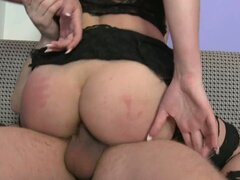Filthy blonde whore Holly Osborne takes a long anal ride on huge cock.