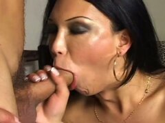 Busty latin milf shemale cums & fuck