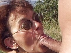 Granny gets fucked in the nature