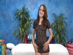 Cute 18 year old massage therapist Izzi Ryder gives a little more than a massage!